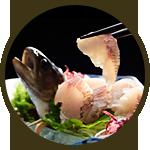 岩魚の姿造り 1,100円(税別)